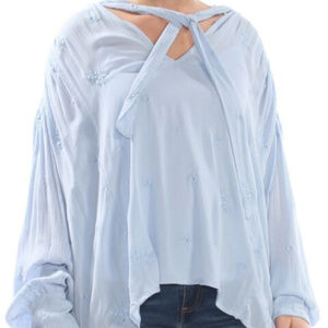Free People Tops - Free People Wishful Embroidered Blue Top.Large